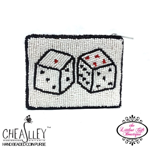 Lottery Dice on White Coin Purse
