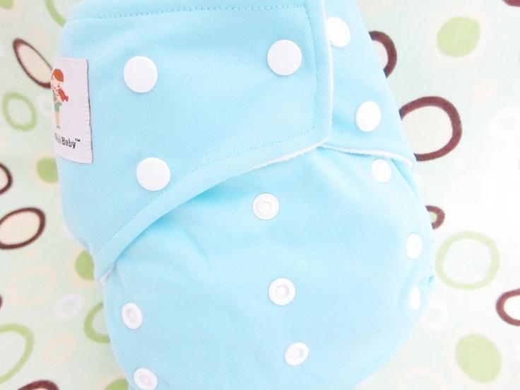 Original Cross-Over Squared Tab Snap cloth diaper.  Color: Light Blue.