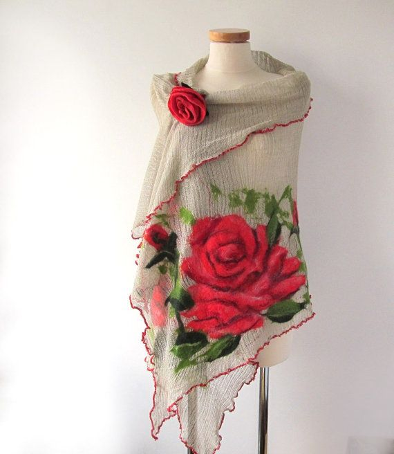Linen shawl knit jersey felted aplication Rose flower natural flax on Etsy, $79.00