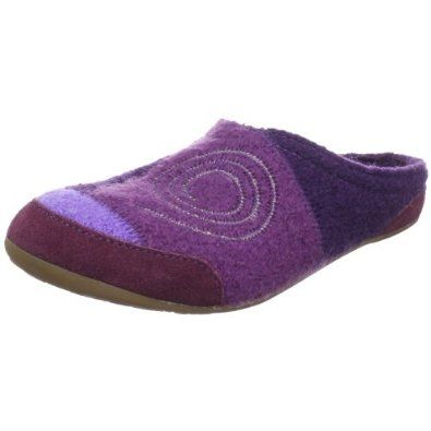 "Haflinger Women's Alicia Slipper Haflinger. $52.95. Heel measures approximately 1/2"". Fabric and suede. Rubber sole. Get extra durability and protection from the suede trim and easy access with a slip-on entrance. The crepe sole easily transitions this shoe from inside to outdoors for endless wear.. The boiled wool upper offers a fun and vibrant design, while the soft lining keeps toes toasty and warm"