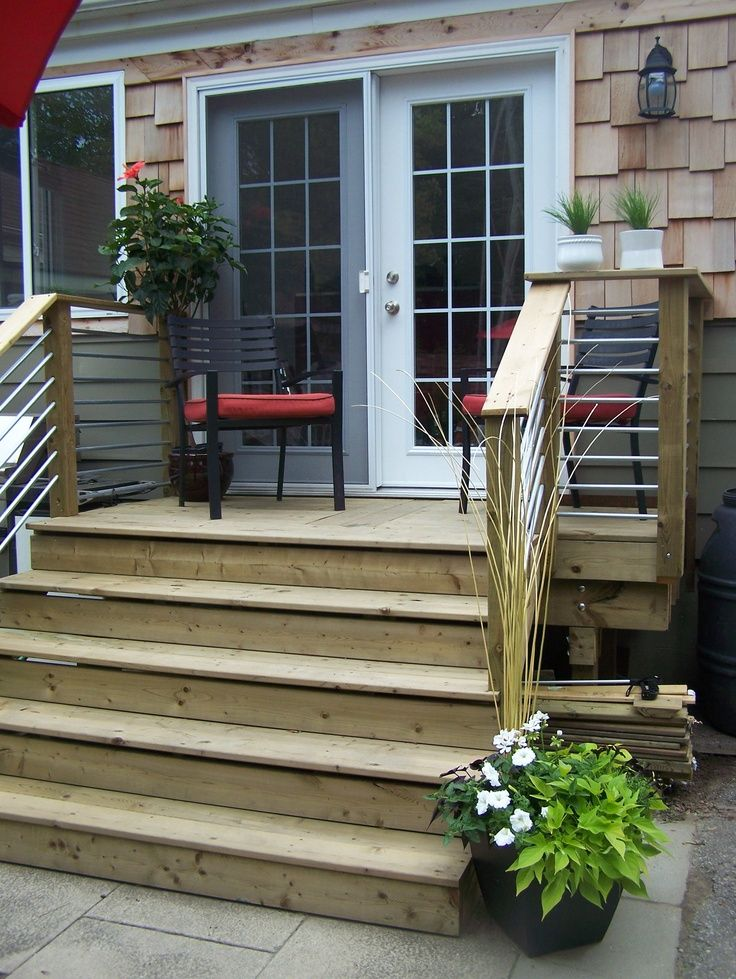 Image result for 2nd floor sliding glass doors small deck  stairs to patio