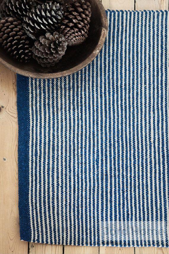 Blue Ticking Stripe Rug  The Biret by JordHome on Etsy