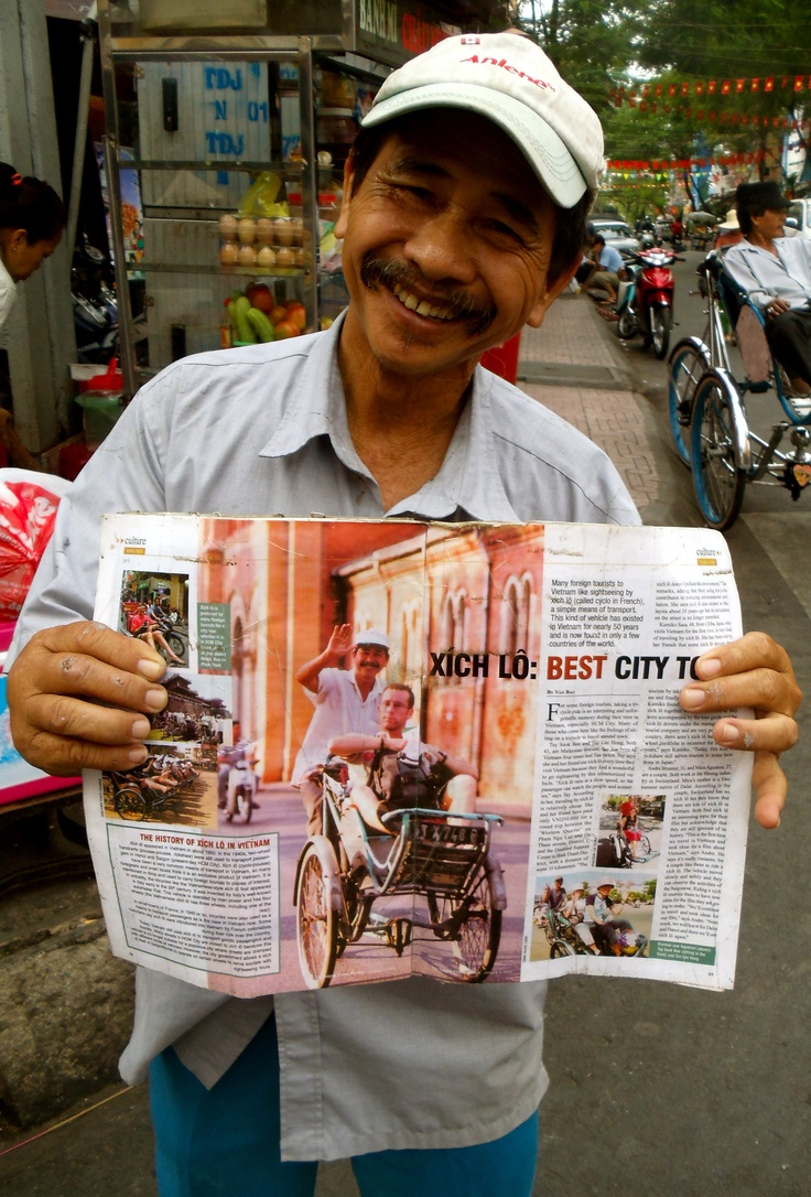 Bicycle driver is published in a magazine, Vietnam