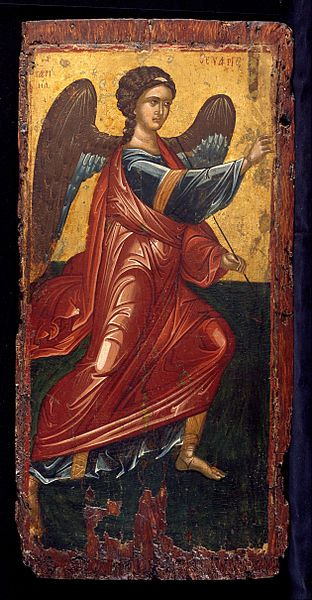 The archangel Gabriel, from an annunciation scene on the King's Door of an iconostasis. Late Byzantine (Greek) icon from the second half of the 15th century