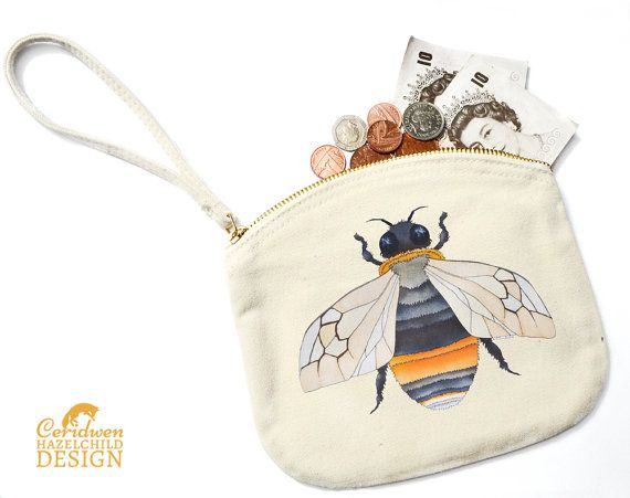 Bee Canvas Zip Purse Makeup Bag Coin Purse Small Accessory Pouch by ceridwenDESIGN http://ift.tt/1YrrOJQ