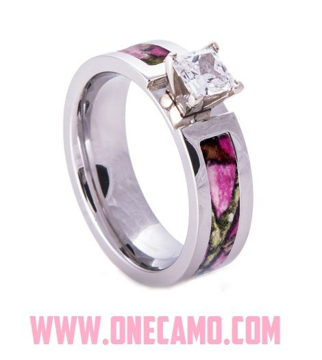 Make your Camo Wedding perfection with this Camouflage Engagement Ring by https://1CAMO.com Make your Mossy Oak or Realtree camo lover fall in love with you all over again with this camo band!