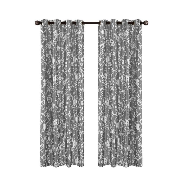 Window Elements Florabotanica Printed Faux Silk Gray Grommet Extra Wide Curtain Panel, 54 in. W x 90 in. L
