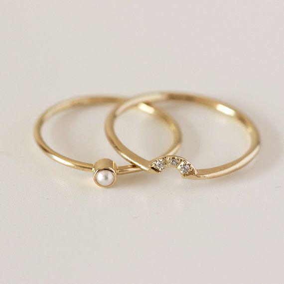 Erstaunlich Perle Ehering Setzt Mit Hochzeit Gesetzt Perle Ring Diamantkrone Ring 14 Karat Gold | Diamond Ring