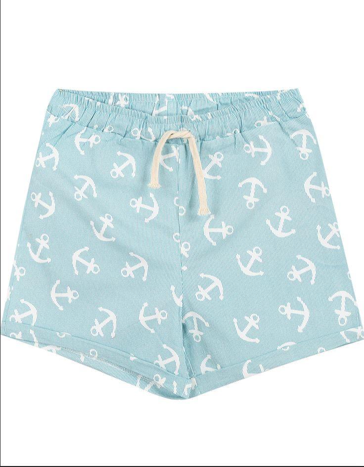 Pastel Blue Anchor Shorts