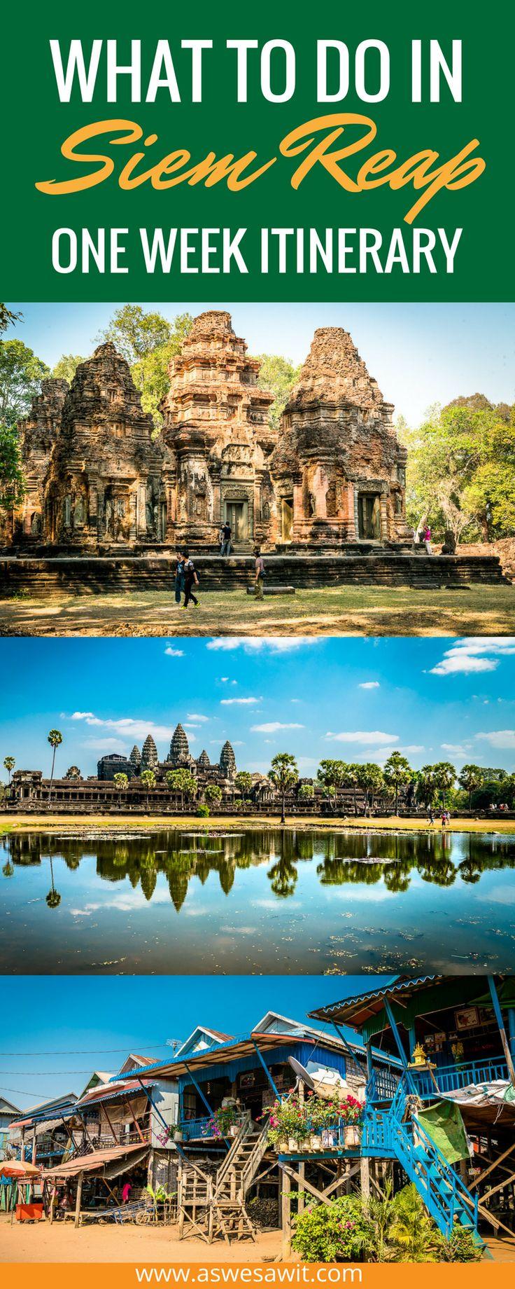 What to do for a week in Siem Reap, Cambodia - Angkor Wat and beyond. Most tourists are in Siem Reap for only a few days.They'll visit Angkor Wat and a few other sights, then head off to Phnom Penh. We decided to spend a whole week in the area. Click through to see our one week itinerary for Siem Reap.   As We Saw It #angkorwat #cambodia #travelitinerary #siemreap