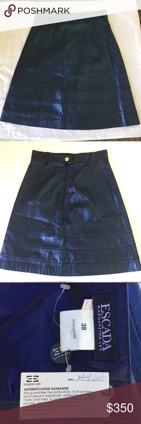 Escada Margaretha Ley Leather Skirt 💙💙 Beautiful blue leather skirt • authentic Escada with authentication guarantee label attached • very soft • made in Spain • #ithriftforyou #escada #escadaskirt #leatherskirt #blueskirt Escada Skirts