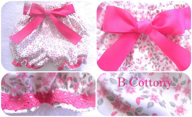 Calções flores e renda de algodão cor de rosa - Pink flowered shorts with pink cotton lace