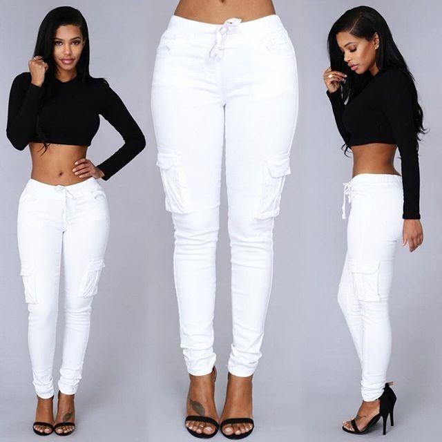 Drawstring Side Pockets High Waist Pure Color Casual Long Pants