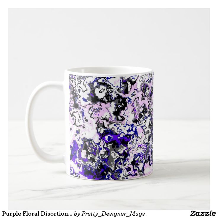 Purple Floral Disortion Classic Mug