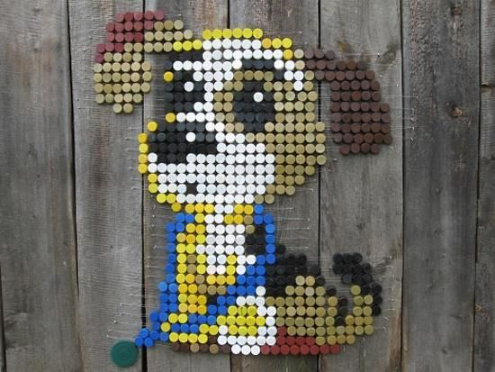 No instructions or anything, just cute pup. - Recycling bottle caps for handmade wall decorations