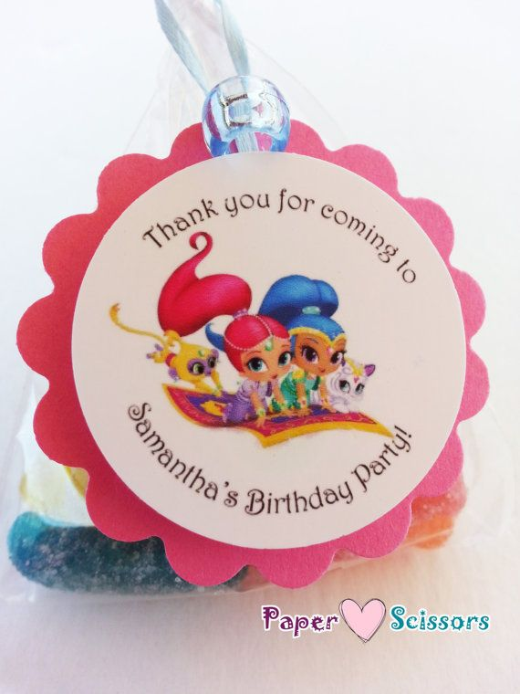 Personalized Shimmer And Shine Birthday Party Favor Tags