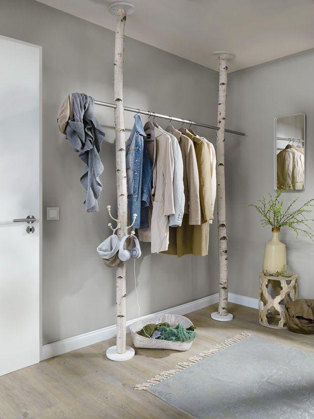 Einrichtungsideen Aus Birkenstammen Garderobe Diy Diy Kleiderschrank Flur Einrichten