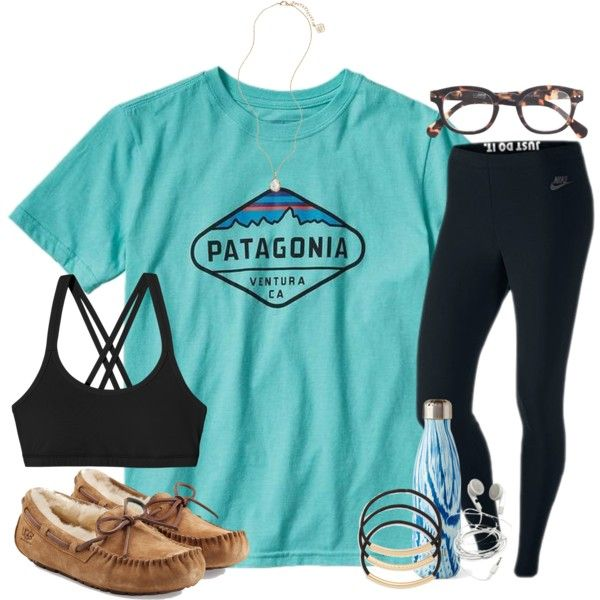 Finally back to school today :( by madison426 on Polyvore featuring polyvore, fashion, style, NIKE, Patagonia, UGG Australia, Kendra Scott, J.Crew, BP. and S'well
