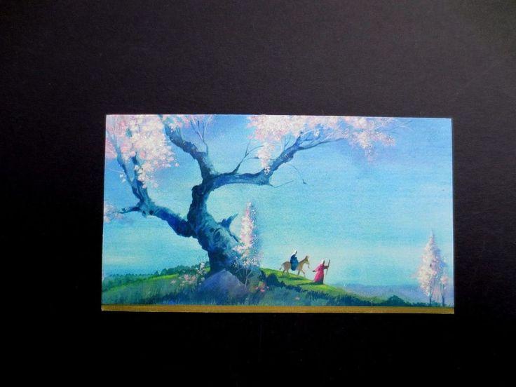 Vintage Unused Glittered Trees Xmas Greeting Card Mary & Joseph on Journey