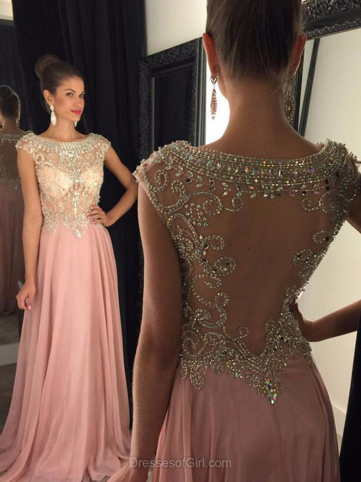 Scoop Neck Prom Dresses, Pink Prom Dress, Aline Evening Dresses, Open Back Party Dresses, Chiffon Formal Dresses