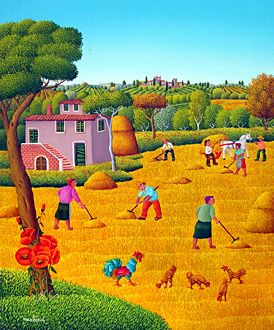 Italy ~ Cesare Marchesini ~ Reaping the wheat