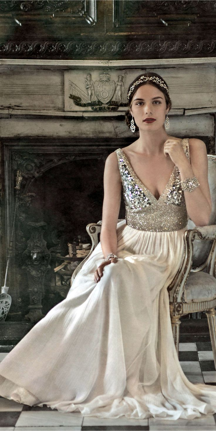 BHLDN 1920s Inspired Wedding Dress with Antique Silver Beading and Silk Chiffon Skirt