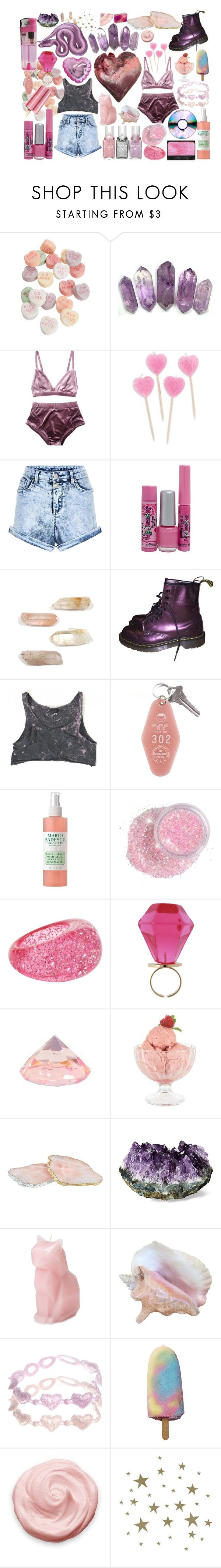 """""""candyfloss."""" by girlwiththepeacocktattoo ❤ liked on Polyvore featuring Bonne Bell, Dr. Martens, Mario Badescu Skin Care, Aéropostale, CO, Bormioli Rocco, RabLabs, ASOS and ferm LIVING"""