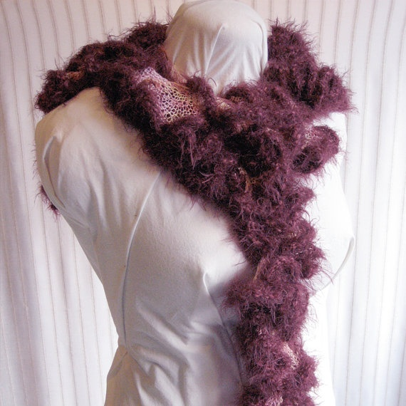 Knitting Patterns For Girls Cardigans : Sunset Colors Knit Curly Scarf Pink Yellow by KnitPurlSquirrel crochet, kni...