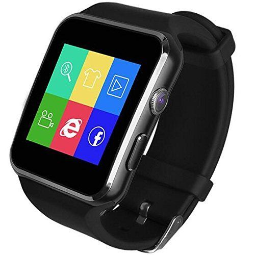 """X6 Smartwatch Support Micro SIM Card Camera work with IOS Iphone Android LG Samsung HTC Sony Huawei Smartphones Silver. Model: X6 2 uses: Feature Phone. Bluetooth Device X6 smartwatch sync with your smartphone so you can manage your digital life conveniently and discreetly. Online Customer Service, you are very welcome to contact us for any questions! Product Basic Information Dial size: 1.55 X 1.78 inch Belt size: 0.85 X 10inch Screen: 1.54""""IPS Curved Screen Resolution: 240 X 240 HD…"""