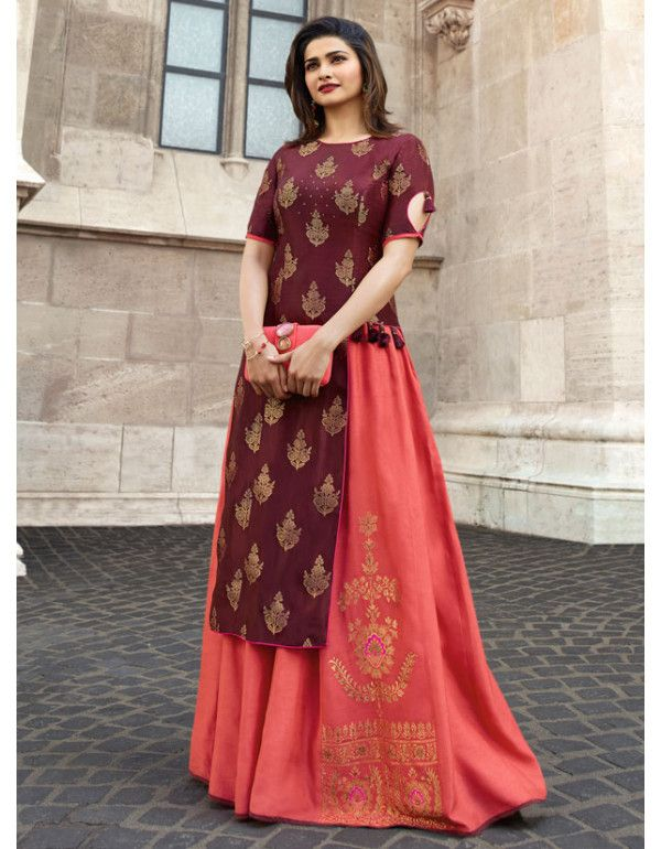 76e37160a2 Prachi Desai Date Brown and Salmon Pink Gown in 2019 | Readymade Gowns |  Dark peach color, Fancy kurti, Pink gowns