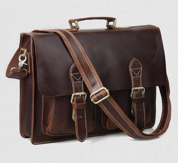 Convertible Organizer Leather Laptop Briefcase for Men with Adjustable Strap