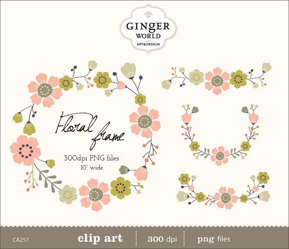 wreaths floral clipart floral frames clip art for by GingerWorld, $4.50