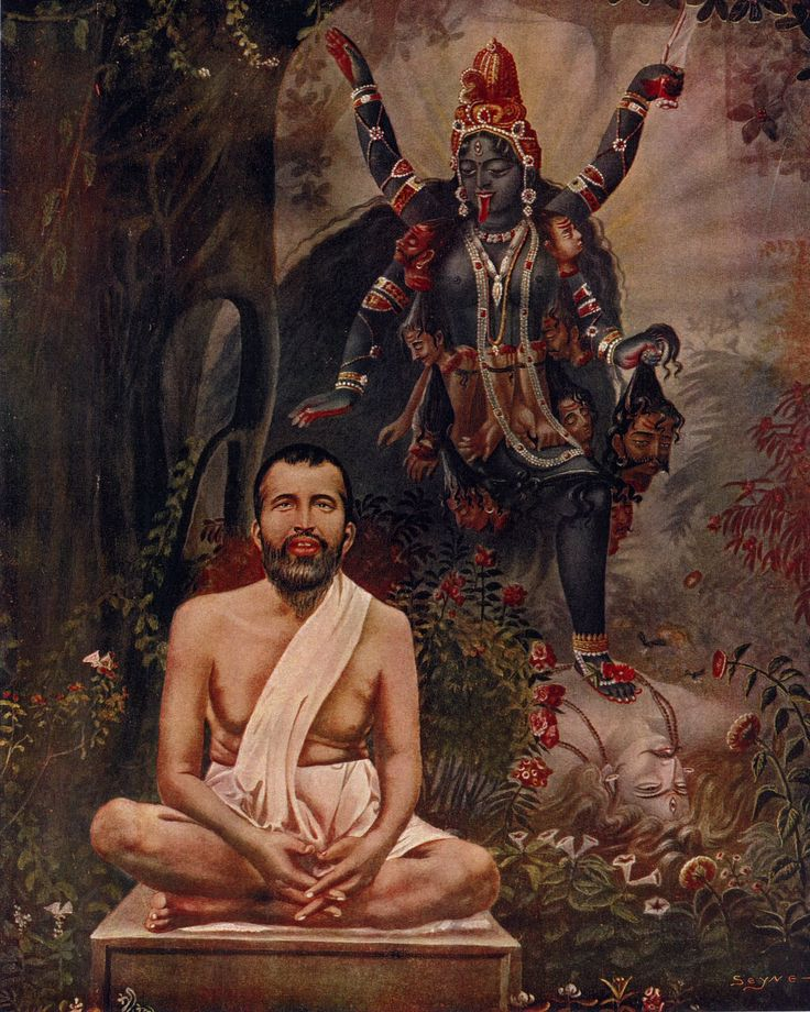 Sri Ramakrishna meditation in front of Mother Kali and Shiva