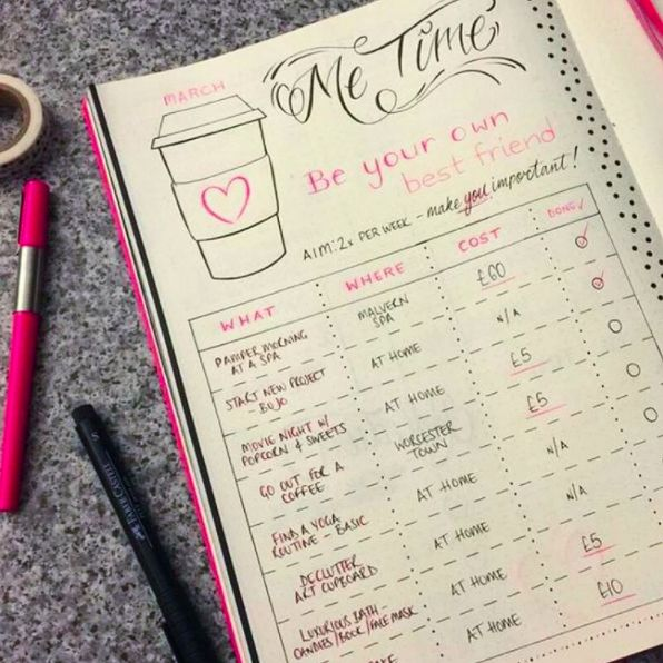 """This chart to help you schedule important """"you"""" time: 