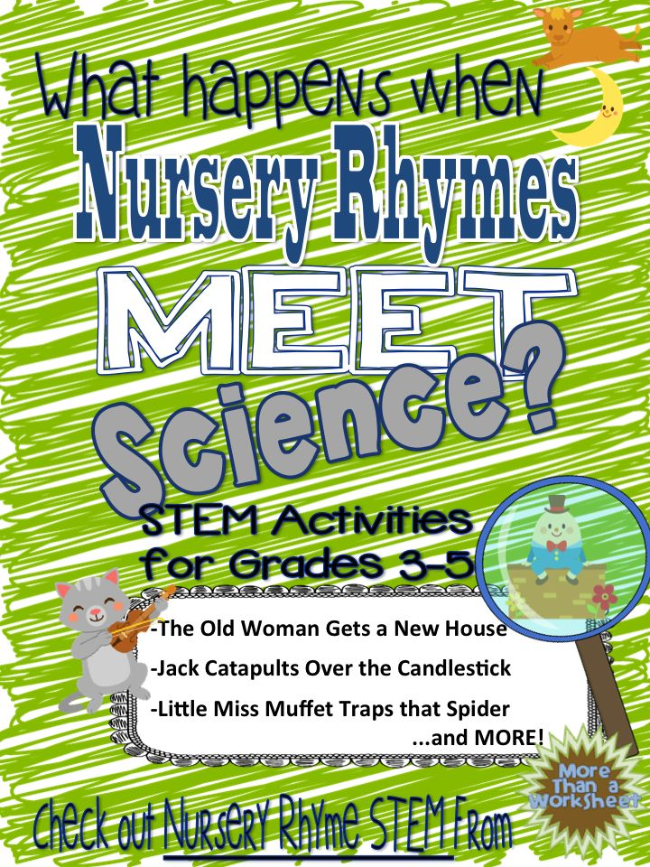 10 Engaging STEM activities based on popular nursery rhymes. Hickory Dickory Pendulum…Little Bo Peep Search Helicopter…and more! Grades 3-5. From More Than a Worksheet $
