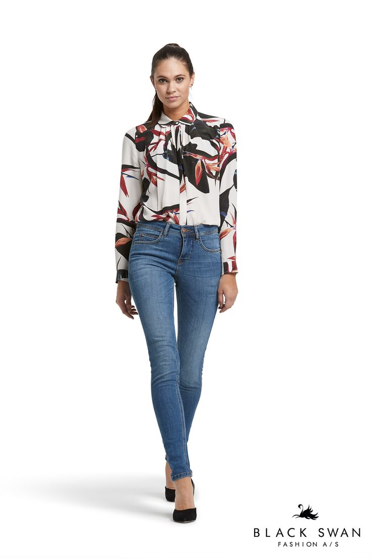 Jordan printed shirt and Jade blue jeans Black Swan Fashion SS17