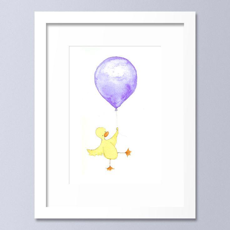 Nursery Decor, Kids Wall Art, Yellow, Duck, Balloon Print, Babys room by OneLittleBundle on Etsy