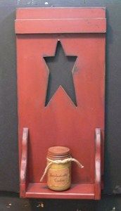 CLEARANCE Primitive Wood Star Shelf :: Wood Crafts :: Wholesale Country Primitive Gifts/ Kp Home Collection