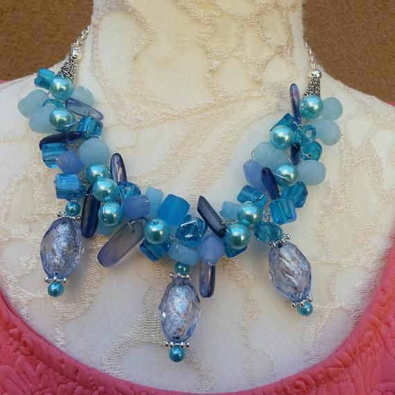 New Teal Crystal Beads Cluster Necklace Choker