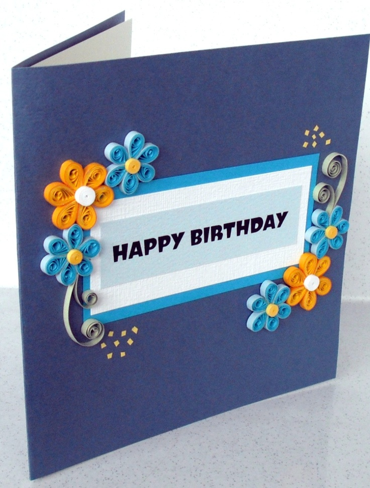 Quilled simple happy birthday card