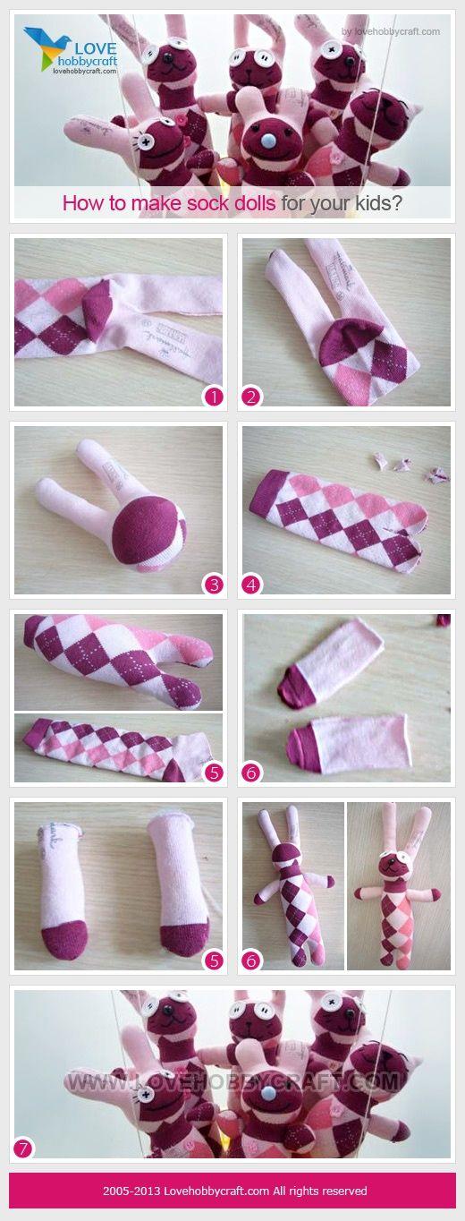 gute und genaue Bilder-Anleitung für Sockenhasen