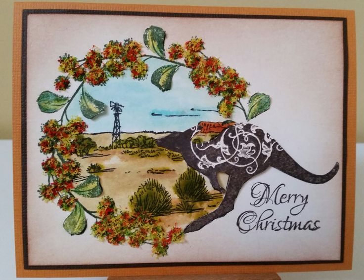 Stamp-It Australia: Kangaroo Christmas 4821E, Outback 930F, Wattle 3237D. Card by Susan of Art Attic studio