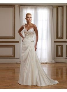 Sweep Train Satin Sheath Column Wedding Dress