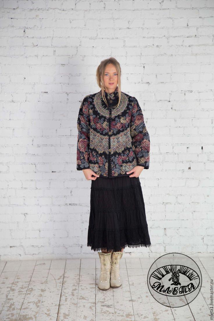 Куртка синель Молитва 2 - черный, цветочный, павловопосадский платок, русский стиль