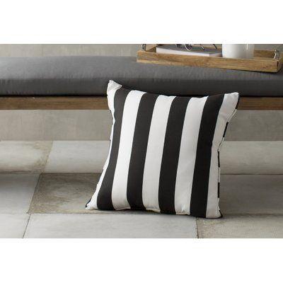 "Wayfair Custom Outdoor Cushions Outdoor Throw Pillow Color: Finnigan Tuxedo, Height: 22"", Width: 22"""