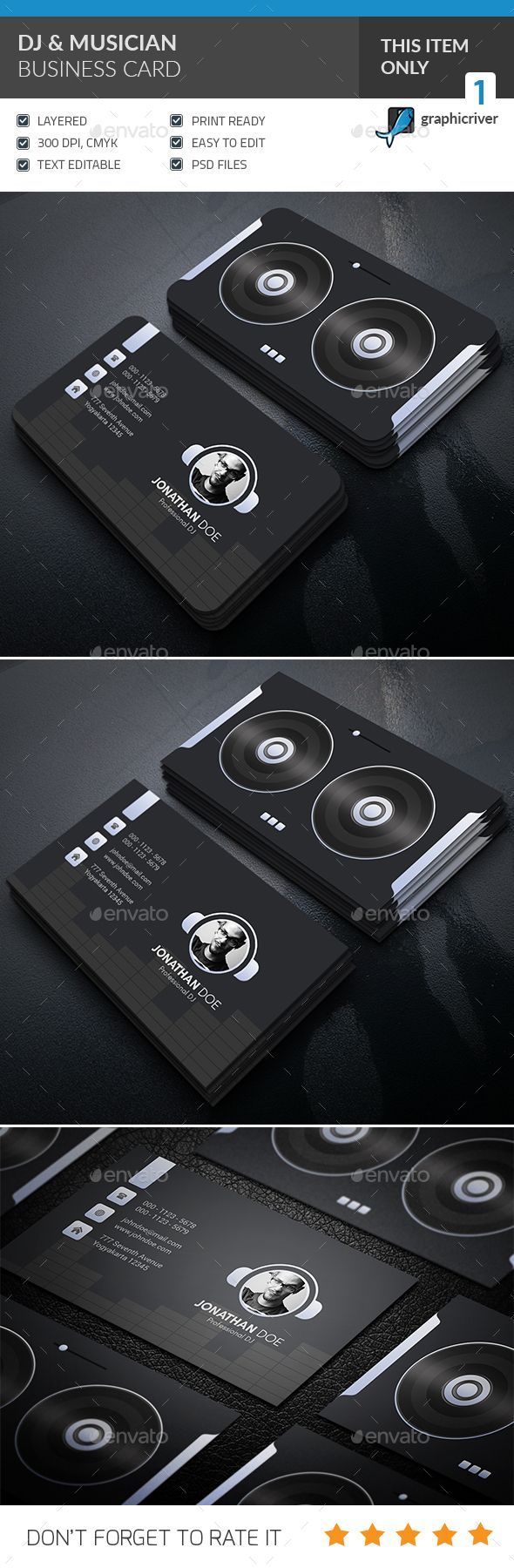 DJ & Musician Business Card Design - Corporate Business Card Template PSD. Download here: https://graphicriver.net/item/dj-musician-business-card-/16936430?s_rank=1&ref=yinkira