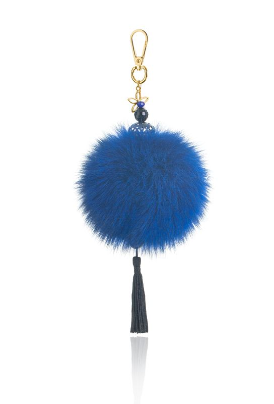 Pompon Bag Charm with 12cm blue real fox fur, metal ring and clip, crystal beads and decorative elements.  Price: 39.00E