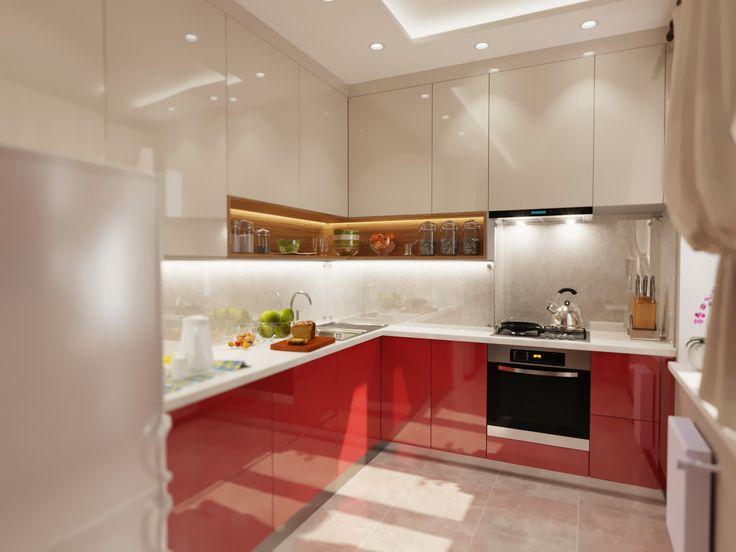 Современный дизайн кухни, визуализация   Podium