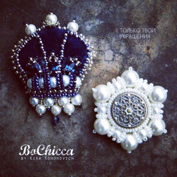 #handmade #brooch #crown #snowflake #blue #white