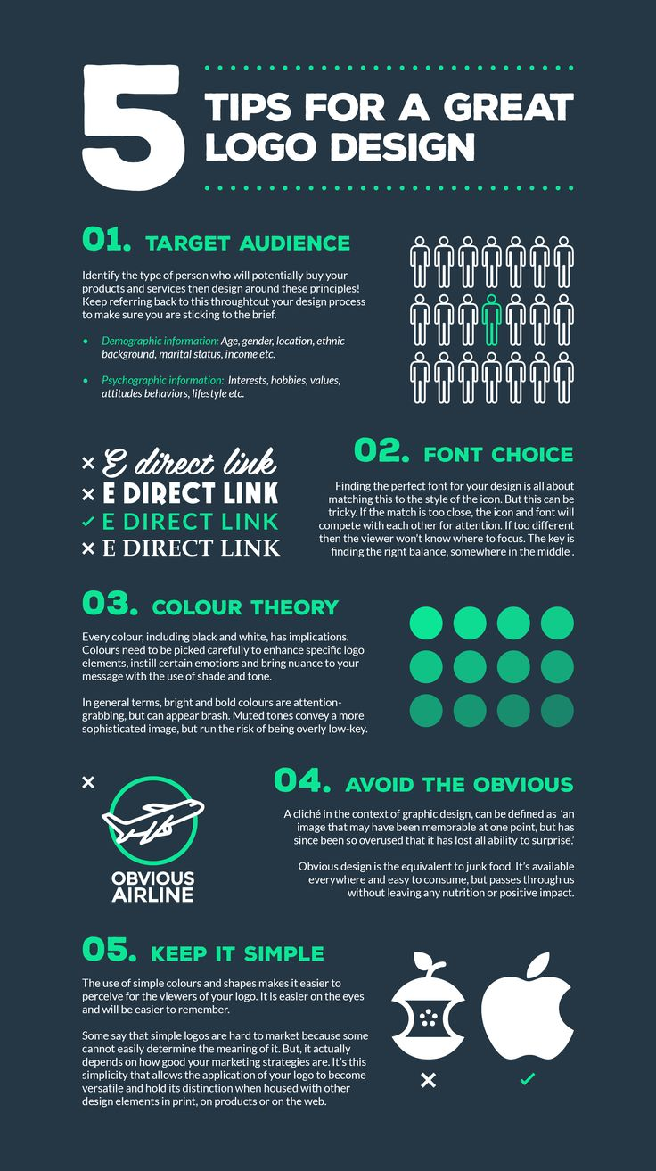 Having a great logo design is essential for every company, This infographic shows 5 simple steps to creating a logo that will last.  To take a look at the logo's we create here at E Direct Link, simply follow our pinterest boards for regular updates, or v